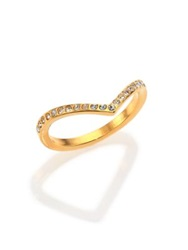 Vita Fede Crystal Ultra Mini V Ring Goldtone