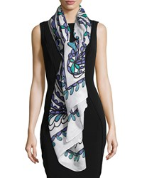 Papillon Summer Scarf White Multi Theodora And Callum