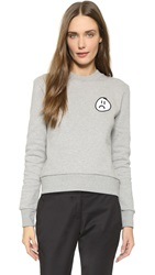 Etre Cecile Frowney Badge Slim Fit Sweatshirt Grey Marle