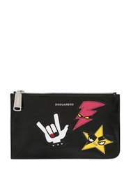 Dsquared Medium Punk Patches Patent Leather Pouch
