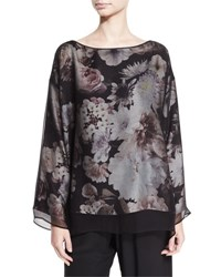 Eskandar Floral Print Silk Tunic Black Blossom Black Patterned
