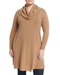Lafayette 148 New York Cowl Neck Long Wool Sweater Camel