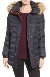 Vince Camuto Women's Quilted Coat With Faux Fur Trim Hood Navy