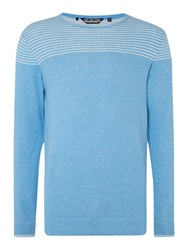 Duck And Cover Stripe Crew Neck Pull Over Jumper Light Blue