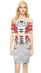 Clover Canyon Toucan Off The Shoulder Crop Top Red