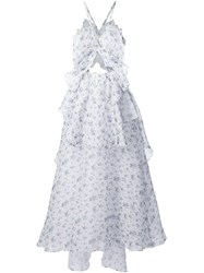 Rosie Assoulin Floral Halter Neck Dress White