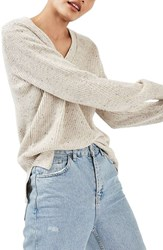 Topshop Women's Ribbed V Neck Sweater