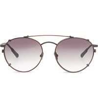 Kris Van Assche Kva71 Unique Circular Combination Aviator Sunglasses Matt Silver