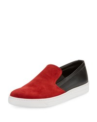 Prada Linea Rossa Contrast Suede Top Slip On Sneaker Black Red