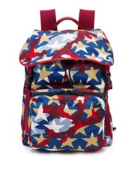 Valentino Deconstructed Nylon And Calf Leather Backpack Blue Red