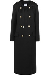 Max Mara Double Breasted Wool And Angora Blend Coat Black