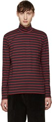 John Lawrence Sullivan Grey And Red Striped Turtleneck