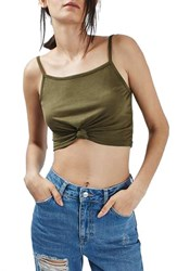 Topshop Women's Knot Front Crop Camisole Olive