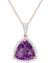 Victoria Townsend Amethyst 8 Ct. T.W. And Diamond Accent Pendant Necklace In 18K Rose Gold Over Sterling Silver
