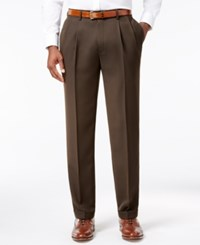 Louis Raphael Men's Straight Fit Double Pleated Dress Pants Brown
