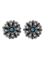 Lanvin Flower Clip On Earrings Blue