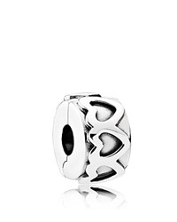 Pandora Design Spacer Sterling Silver Row Of Hearts Moments Collection
