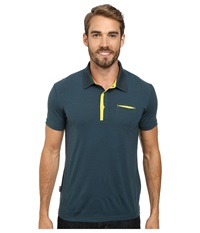 Icebreaker Quattro S S Polo Pine Men's Short Sleeve Pullover Green