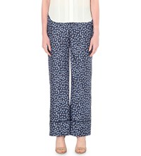 Whistles Star Print Silk Trousers Multi Coloured