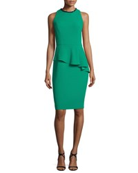 Carmen Marc Valvo Sleeveless Asymmetric Peplum Sheath Dress Emerald