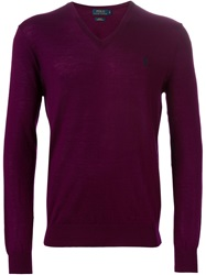 Polo Ralph Lauren V Neck Sweater Pink And Purple