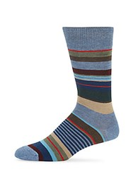Saks Fifth Avenue Multistriped Combed Cotton Blend Socks Blue Multi