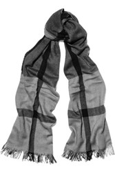 Jil Sander Checked Wool Silk And Cashmere Blend Scarf Gray