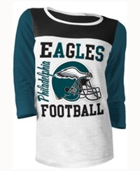 5Th And Ocean Women's Philadelphia Eagles Three Quarter Glitter T Shirt Green