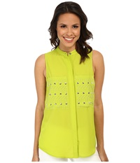 Michael Michael Kors Embellished Pocket Sleeveless Button Down Shirt Pear Women's Clothing Green