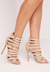 Missguided Buckled Strappy Heeled Sandals Nude Beige