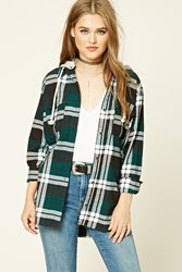 Forever 21 Hooded Plaid Flannel Shirt Green Black