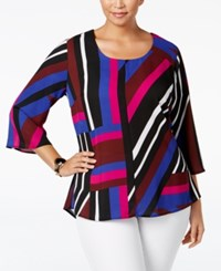Ny Collection Plus Size Striped Handkerchief Back Top Wine Taffy