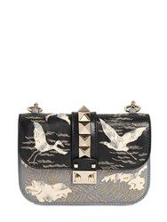 Valentino Small Lock Embroidered Leather Bag
