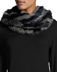 Jocelyn Rabbit Fur Infinity Scarf Navy Multicolor