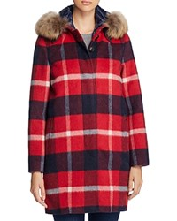 Woolrich John Rich And Bros Allgood Fur Trim Plaid Coat Check Red