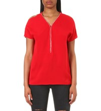 The Kooples Zipped Crepe Top Red