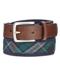 Club Room Men's Reversible Plaid Belt Only At Macy's Navy