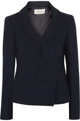 Valentino Wool Blend Twill Blazer Blue