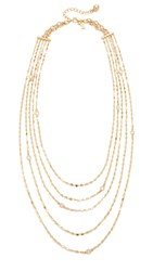 Kate Spade Cascade Multi Strand Necklace Clear Gold