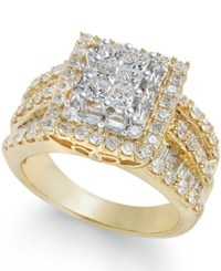 Macy's Diamond Cluster Ring 2 Ct. T.W. In 14K Gold Yellow Gold