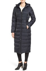 Vince Camuto Women's Belted Hooded Down And Feather Fill Maxi Coat Navy