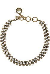 Giles And Brother Brass Crystal Necklace Metallic
