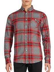 Sovereign Code Hayes Plaid Cotton Button Down Shirt Red Grey