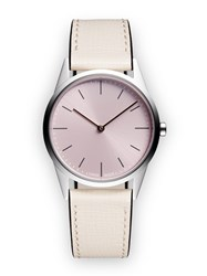 Uniform Wares C33 Women's Two Hand Watch In Polished Steel With Mist Textured Calf Neutral