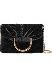 Stella Mccartney Nina Small Velvet And Faux Leather Clutch Black