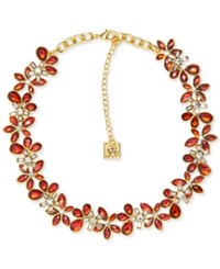 Anne Klein Gold Tone Stone And Crystal Floral Collar Necklace Siam