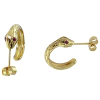 London Road 9Ct Yellow Gold Ruby Serpent Hoop Earrings
