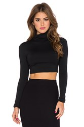 Susana Monaco Turtleneck Crop Top Black