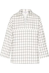 Tomas Maier Checked Brushed Cotton Top White
