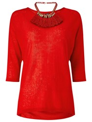 Phase Eight Tomasine Tassle Necklace Jumper Red